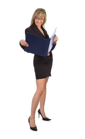 legs open: blond secretary with documents folder in her hands
