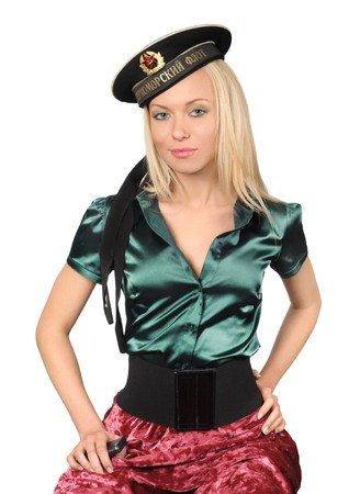 cute blond wearing black soviet military sailor cap photo
