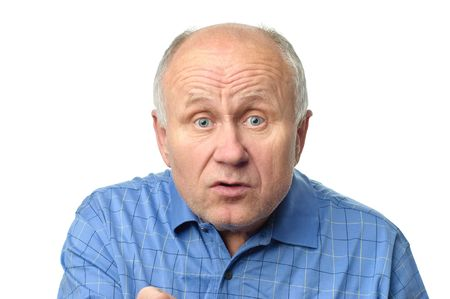 expressive senior bald man is and arguing Stock Photo - 5012666