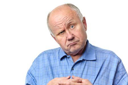 homme chauve: senior homme chauve dr�le de grimaces