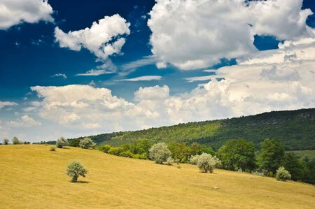 rural landscape with blue sky and clouds on it Stock Photo - 5186915