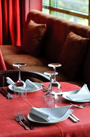 quality served restaurant table, selective focus Stock Photo - 5332140