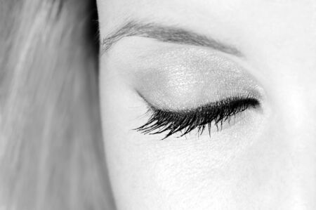 close-up of beautiful eye closed, black and white version photo
