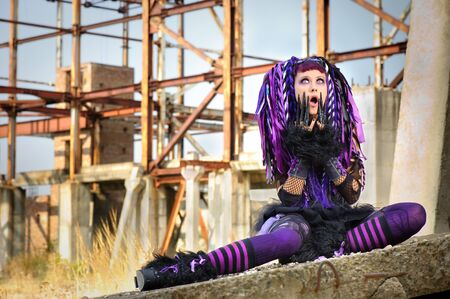 gothic fetish: cyber gothic girl in the industrial environment