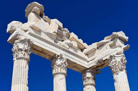 Detail of ancient temple of Trajan, Bergama, Turkey photo