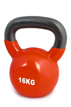 kg: 16 kg rubber dipped red lifting weight, selective focus Stock Photo