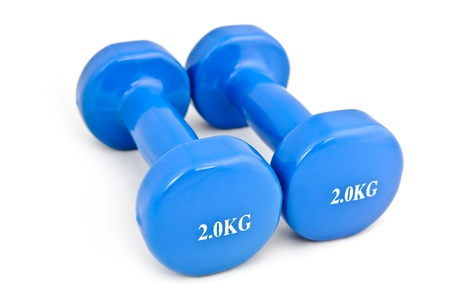 kg: pair of 2 kg rubber dipped blue dumbbell, selective focus