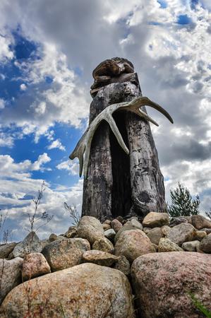 saami: Finnish Karelian Saami wooden pagan idol sejd Stock Photo