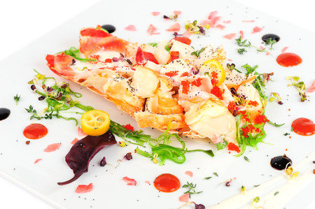 Lobster salad in japanese style with chuka seaweed and tobico photo