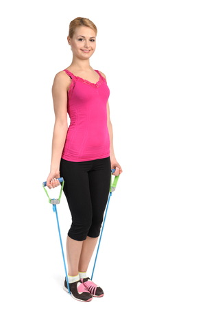 female exercise using rubber resistance band  position photo