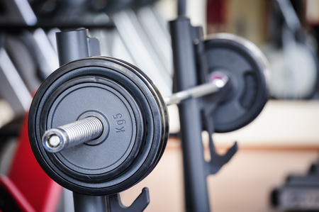 powerlifting: Barbell ready for workout, indoors, selective focus