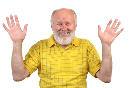 yellow shirt: hands up, smiling senior bald man with mirror, bad teeth