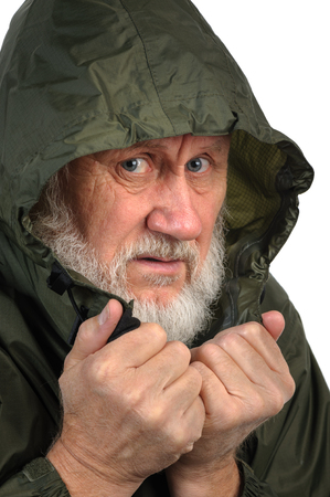 hoody: pathetic senior man in green waterproof hoody