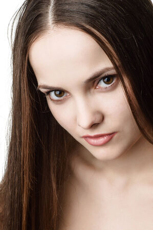 brown  eyed: portrait of young beautiful brown eyed woman Stock Photo