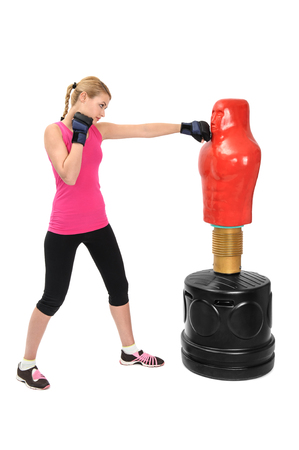 the opponent: Young Boxing Lady with Body Opponent Bag, Adjustable Practice Mannequin