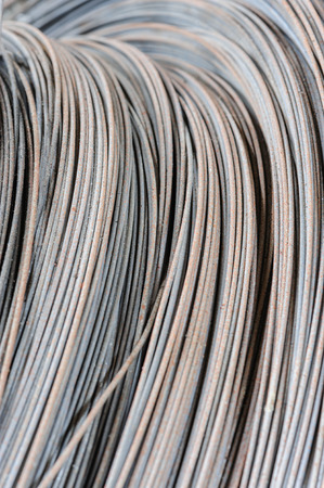 steel wire: hank of metal wire, selective focus, usable as background Stock Photo