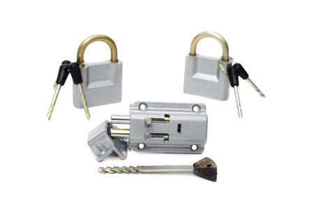door lock and two padlocks with keys, isolated on white photo