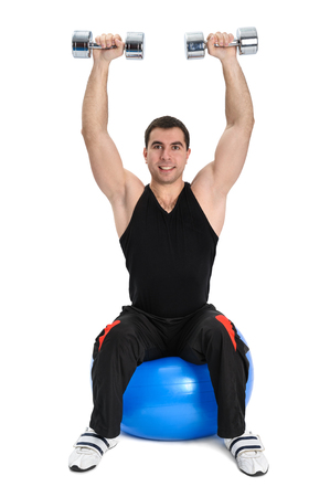 Seated Dumbbell Shoulder Press on Fitness Stability Ball, phase 2 of 2 photo