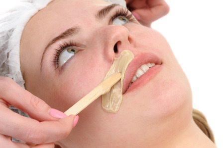 beauty salon, mustache depilation, facial skin treatment and care photo