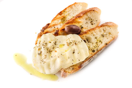 homemade style: grilled homemade bread with cheese with olive oil in greek style