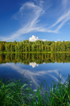 Beautiful river coast in the wild Karelian  Karjala  woods photo