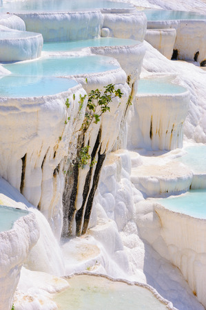 natural phenomena: Blue cyan water travertine pools at ancient Hierapolis, now Pamukkale, Turkey Stock Photo