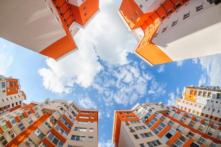 condominium complex: Fisheye shot of new apartments buildings exterior
