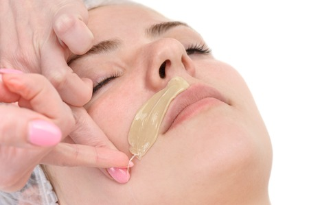 waxing: beauty salon, mustache depilation, facial skin treatment and care