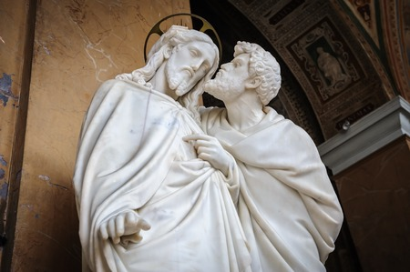 betrayal: Kiss of Judas statue Stock Photo