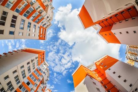 condominium complex: fisheye shot of new resitential buildings Stock Photo