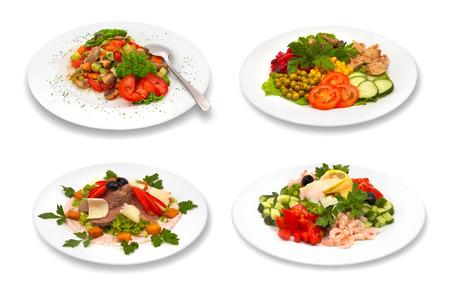 set of salads on white background photo