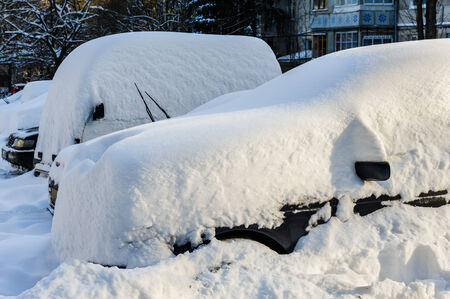 vehicles covered with snow photo