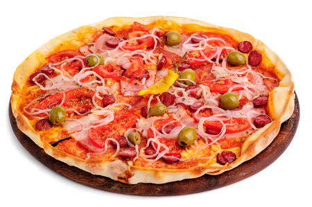 sector: two whole pizzas on wooden table Stock Photo