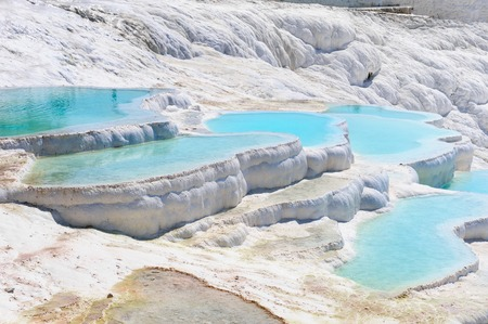 파묵칼레, 터키 석 회화 수영장과 테라스