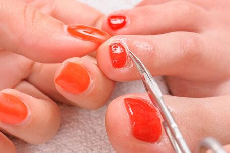 pedicure process macro closeup photo