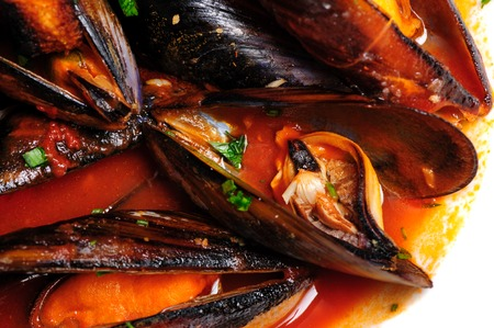 Mussels in italian rustic style Stock Photo