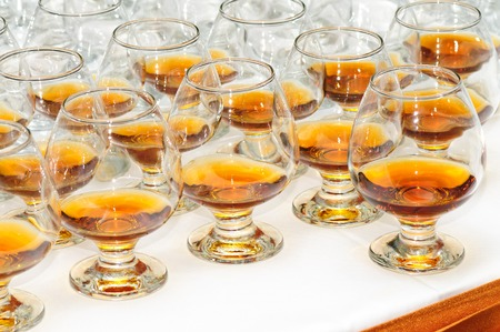banket: glasses with cognac or brandy