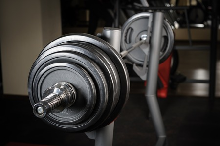 powerlifting: Barbell ready to workout Stock Photo