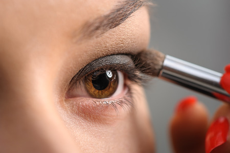 make up eyes: Brown Eye Smoky Makeup Stock Photo