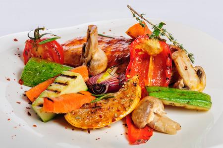 chicken salad: Grilled chicken fillet and vegetables