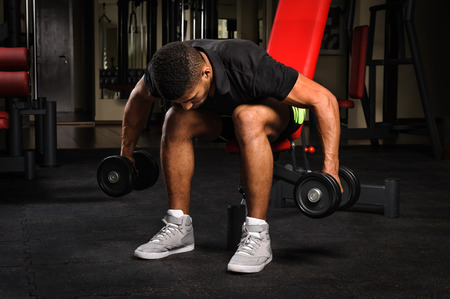 bent over: Young man doing Seated Bent Over Dumbbell Reverse Fly workout in gym