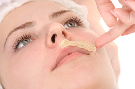 mustache depilation Stockfoto