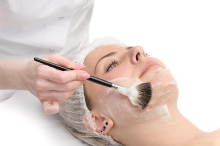 beauty salon, facial mask applying
