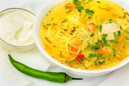 chicken noodle: Zama, romanian and moldavian chicken soup Stock Photo
