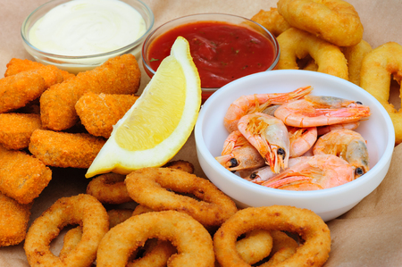 calmar: beer snack, shrimps, calmar rings and fish sticks