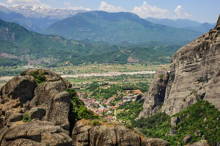 kalabaka: Kalabaka town view from Meteora rocks, Greece Stock Photo