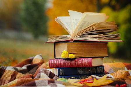 Romantic autumn still life with stacked books, plaid, croissant and leaves