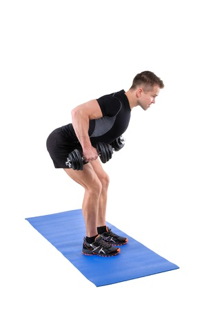 lats: Young man shows finishing position of Standing Bent Over Dumbbells Row workout, isolated on white