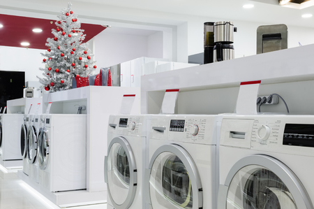 home store: Washing machines, refrigerators and other home related appliance or equipment in the retail store at Christmas