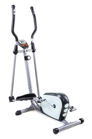elliptical: gym equipment, elliptical cardio trainer, isolated on white background